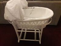 White john lewis moses basket and stand