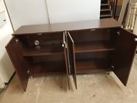 1560x920x400mm credensa unit in walnut with 4 doors in good condition only £110.00