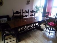 Dinning table 8 Chairs 2 Carver Chairs Antique Refectory table Dark Wood