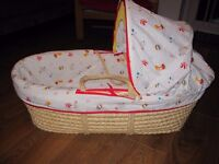 Mothercare moses basket + rocking stand with hood and waterproof mattress