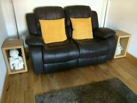 Brown Leather 2 Seater Recliner