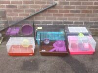 HAMSTER CAGES SOME WITH TUBES MOST WITH EXTRAS £10 EACH