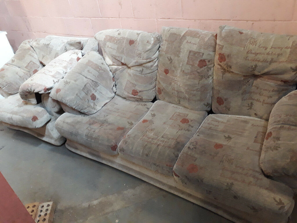 beige 3 seater sofa and 1 armchair