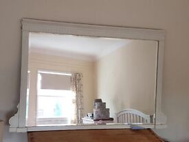 Antique overmantel large bevelled Mirror, heavy with painted ornate frame