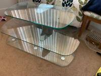 Tv stand. 3 floating glass shelves