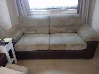 Chocolate & Mink 3-Seater Fabric Sofa