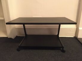 Black TV Television Monitor Two Tier Table Stand Wheels VGC DVD Gaming Console