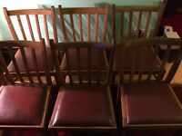 1940s LIGHT OAK DINING CHAIRS, PADDED LEATHERETTE SEATS, VERY GOOD CONDITIO