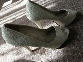 Cream lace open toe heels