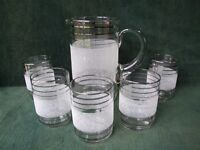 VINTAGE RETRO SET OF 5 GLASSES & JUG FROM 50's 60's