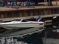 "Speed Boat For Sale, Fletcher GTO, 15"", 2 Stroke 80 Yamaha Outboard, includes trailer"
