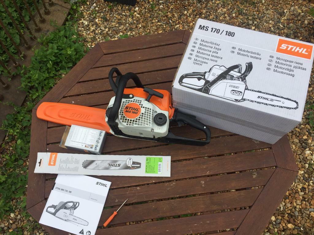 Ms 180 stihl chainsawin Kings Lynn, NorfolkGumtree - Only 5 weeks old like new, boxed. Chain could do with sharpening or a new one is £13 on eBay