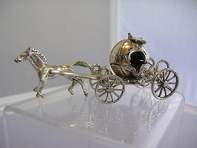 CINDERELLA'S PUMPKIN COACH & HORSE-STERLING SILVER-MOVE