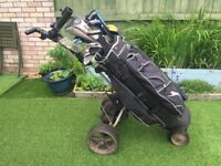 Electric Golf trolley and full set of ladies clubs plus numerous accessories, balls, etc