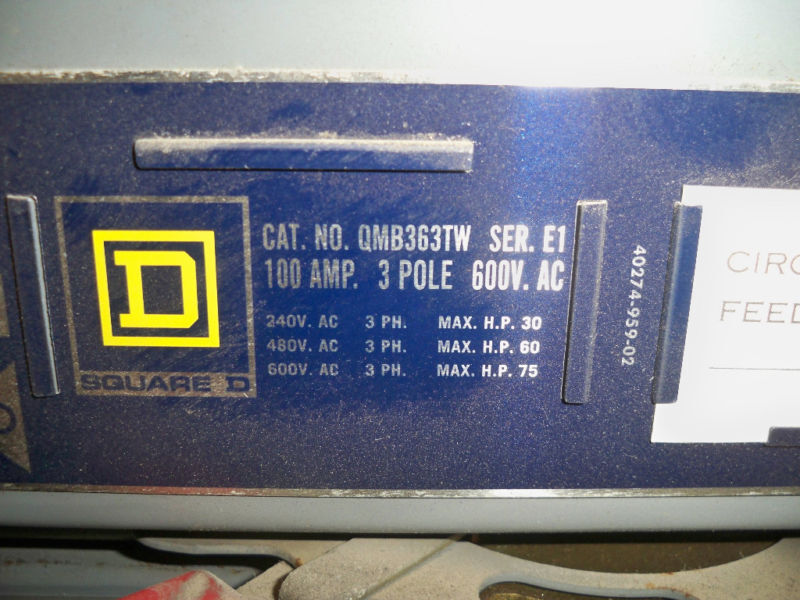 Sq D Qmb363tw 100a Twin 600v Fusible Panelboard Switch