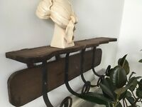 Rustic wood coat rack with vintage hooks - House Clearance, North London
