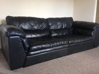 Natural Black Leather 2 & 3 Seater Sofas