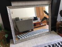 Ornate Framed Silver Mirror with Bevelled Edge
