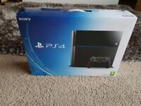 Sony Playstation 4 Jet Black 500GB + Wireless controller and Wall bracket. Boxed