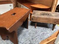 2 Antique Wooden Finger Hole Milk Stools