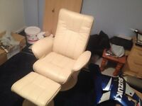 cream leather reclining massage chair and foot stool ..hardly used .