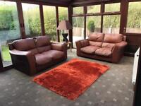 Brown Leather 2 X 2 Seater Sofas Good Condition