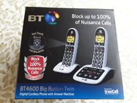 BT 4600 Digital Cordless Phone + Answer Machine. TWIN PACK. Brand New.