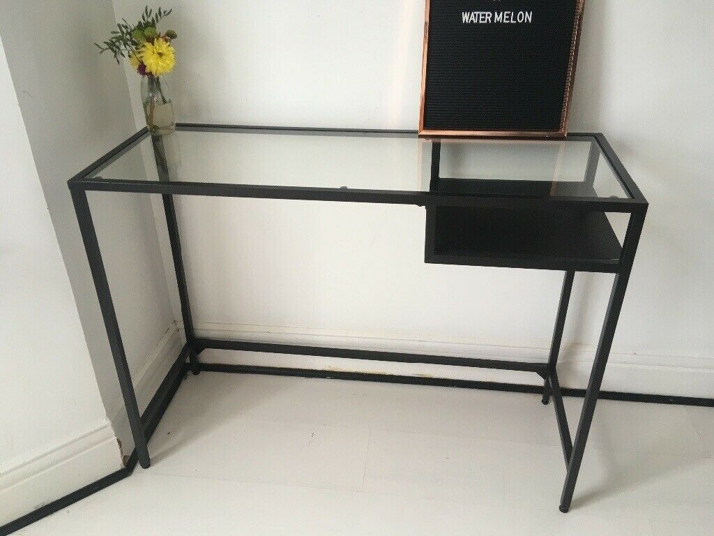 Ikea vittsjo metal and glass console table computer desk in