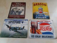 4 x OLD TIN MEMORABILIA SIGNS - Brasso, Pig & Whistle, Spitfire V and Pepsi