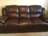 Very comfy Brown leather 3 seater 2 recliners+ 1 armchair with recliner