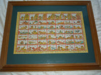 "Vintage Ramayana Balinese Temple Astrological CalendarPainting Framed 32"" x 26"""