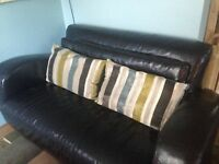 Italian brown leather sofa 2 seater