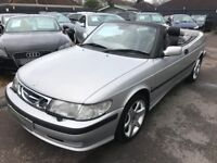 2001/51 SAAB 9-3 2.0T SE CONVERTIBLE,SILVER WITH FULL LEATHER,STUNNING LOOKS+DRIVES REALLY WELL
