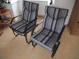 Pair of aluminium garden chairs