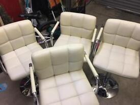 Cream faux leather bar stools