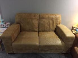 2 seater tan leather sofa