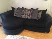 Large black and grey Sofa & Swivel Chair