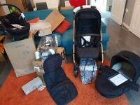 Mamas and papas sola 2 black and rose gold pram and car seat bundle