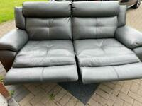 Grey 3 seater reclining leather sofa
