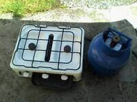 2 ring and grill gas cooker, with gas tank SOLD