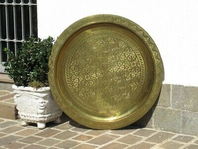 Huge Decorative Plate 100CM Brass Beat & Engraved Period Xx Century