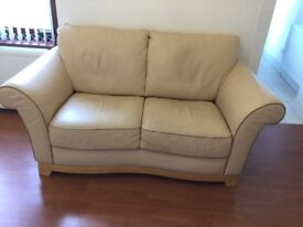 3 seater and 2 seater Reid's cream leather sofas