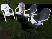 4 WHITE PATIO GARDEN CHAIRS