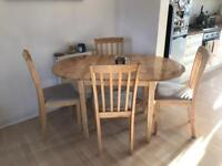 Dining room extending table and 4 chairs