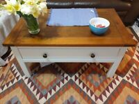 White wooden coffee table with drawer