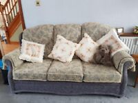 Sofa Set 3 piece - 3 seater and 2 arm chairs - Immaculate condition - fire proof labels