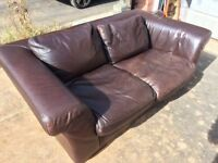 Italian leather chocolate 2&3 seater sofa set - super soft