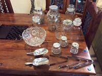 Variety of jars/ bowl, scoops & tongs
