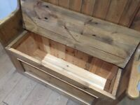 Church Pew, Settle Monks Seat, Blanket Box, Pine Shabby Chic with storage