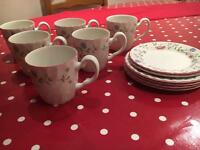 6 mugs and 6 plates Summer Chintz pattern